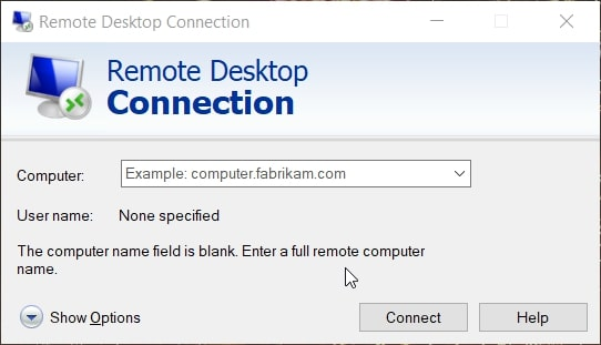The Remote Desktop Connection accessory in Windows 10