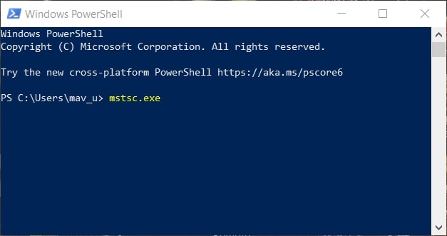 The mstsc.exe PowerShell command in Windows 10