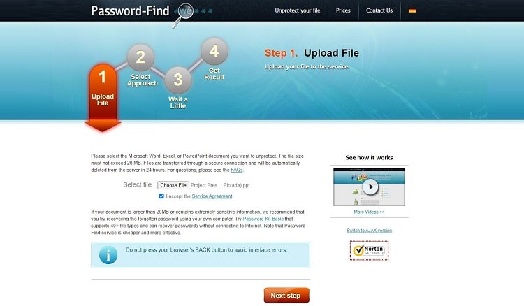 Remove password from PPT online