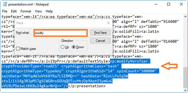 Remove the Tag with Modify inside the XML file