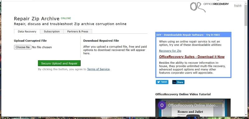 The Repair ZIP Archive Online web tool