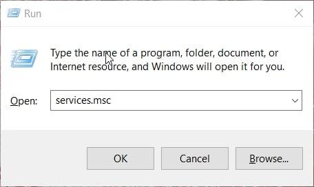 The services.msc Run command in Windows 10