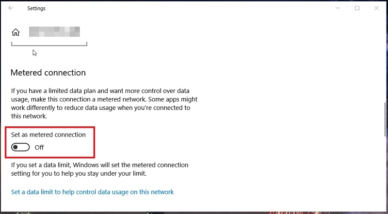 The Set as metered connection option in Windows 10