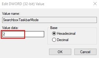Remove search bar from taskbar using registry editor in Windows 10