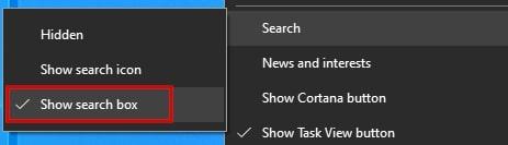 Show search box in Windows 10
