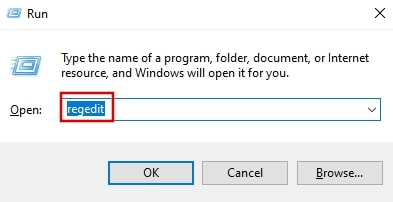 Open Registry Editor from run Windows 10