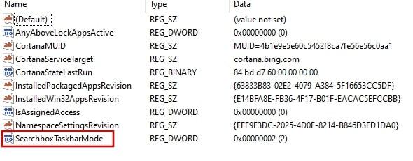 SearchboxTaskbarMode in Registry editor Windows 10
