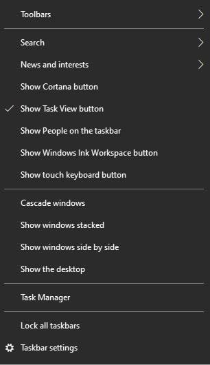 Taskbar right-click menu in Windows 10