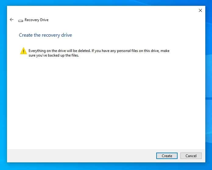 Create a recovery drive in Windows 10