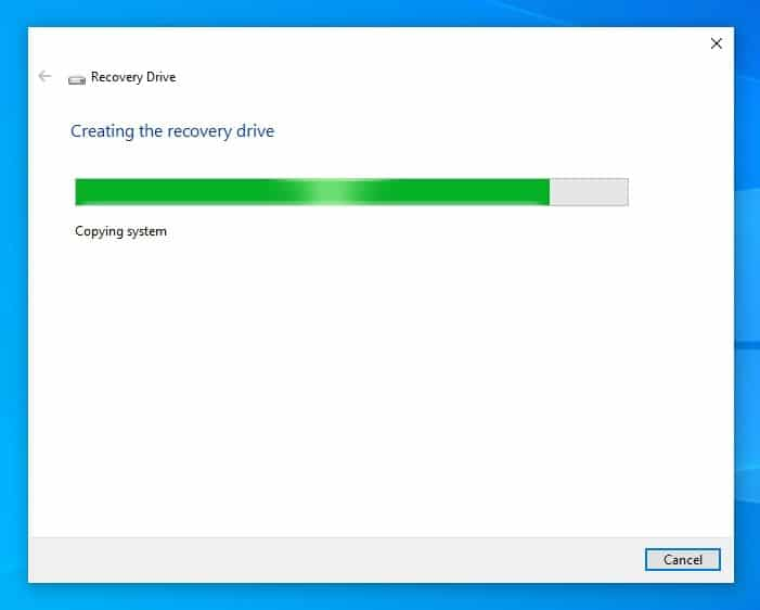 Creating recovery drive in Windows 10