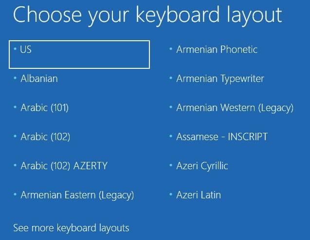 Choose your keyboard layout in Windows 10