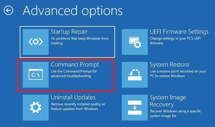 Choose Command Prompt in Windows 10 from recovery drive
