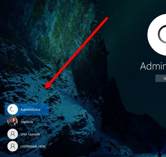 all the existing user accounts on Windows 10 in the sign in screen