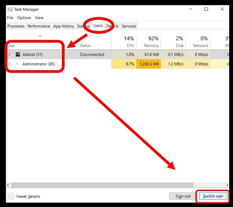 change user account on Windows 10 from task manager