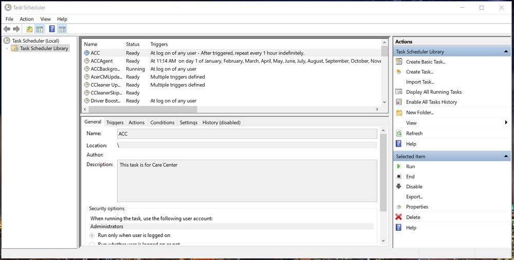 The Task Scheduler in Windows 10