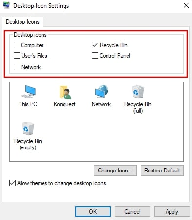 Uncheck to remove icons from desktop on Windows 10