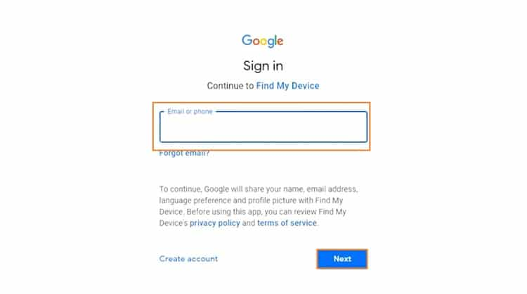 Enter Google Account info of LG Phone on Find My Device