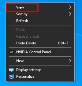 View in Windows 10 right-click menu