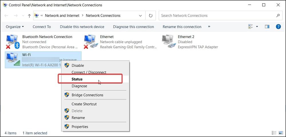 WiFi status in Control Panel Windows 10