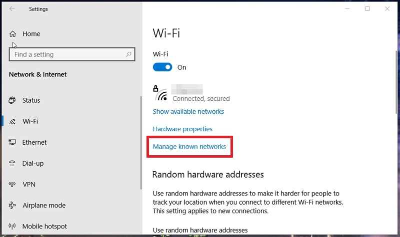 The Wi-Fi tab in Network & Internet settings Windows 10