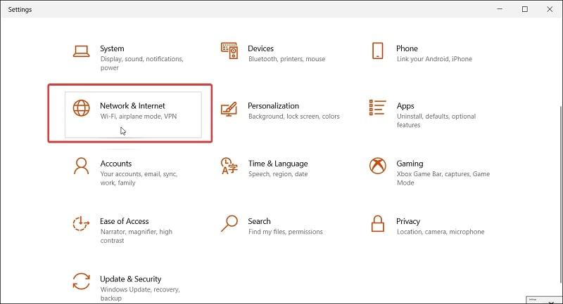 Network Internet in Windows 10 settings