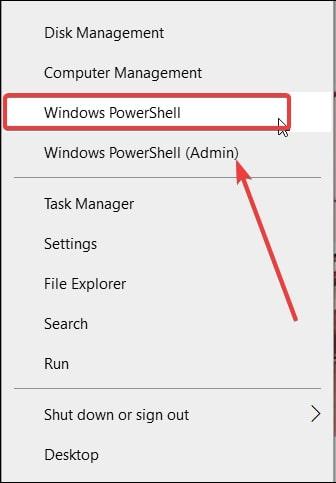 Open Powershell from WinX menu Windows 10