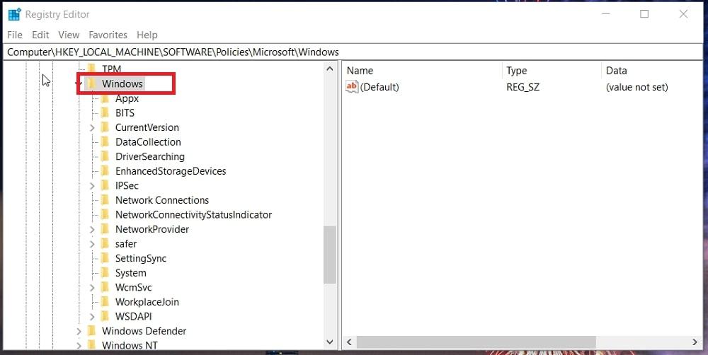 The Windows registry key in Windows 10