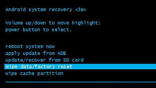 wipe data/factory reset in Android system recovery menu