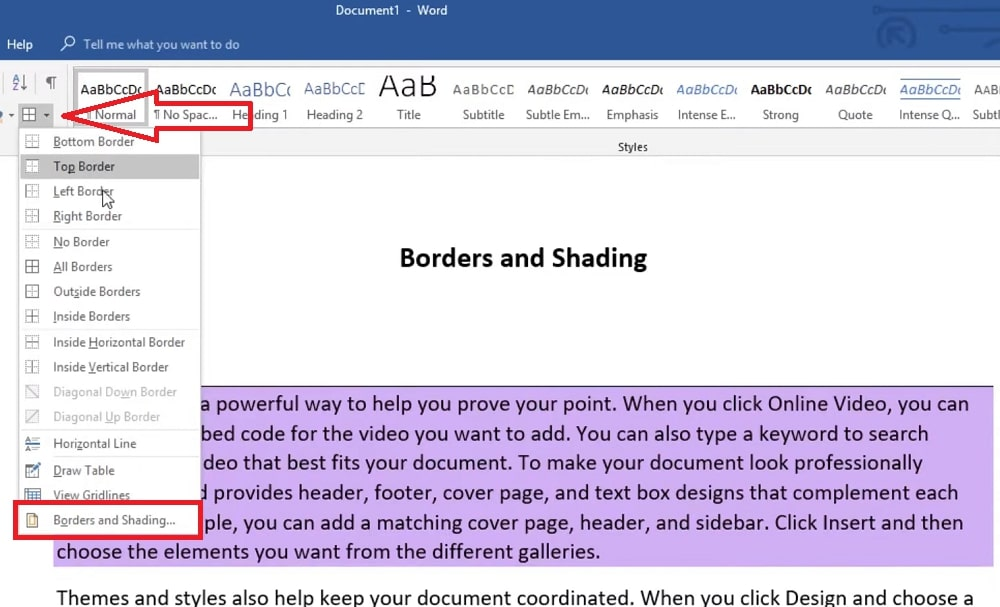 The Borders button in Word
