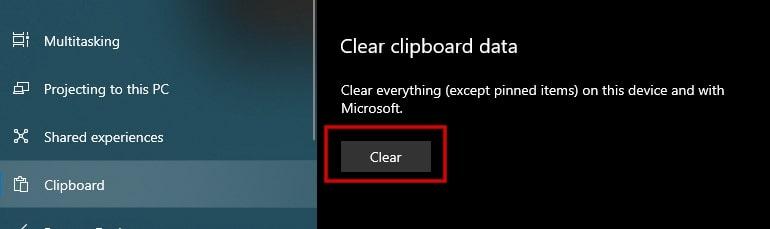 Clear clipboard data in Windows 10 settings