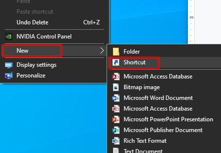 Create a new shortcut in Windows 10