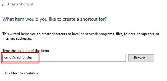 Create a shortcut to clear chipboard in Windows 10