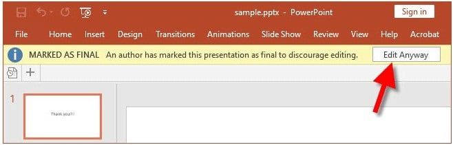 click edit anyway in protected PowerPoint