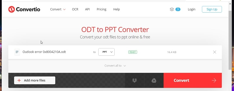 The Convert button in DOC to PPT converter