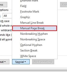 Manual Page Break in Word