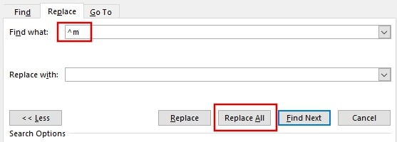 Remove all page breaks in Word using Find and Replace
