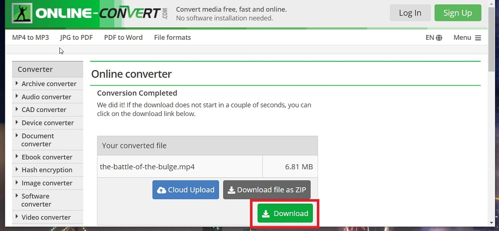 Download MP4 video from online pptx to MP4 converter