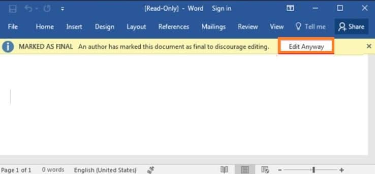 Disable marked as final status in Word document