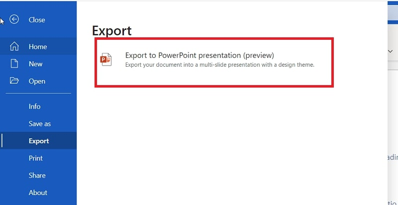 The Export option in MS Word web app