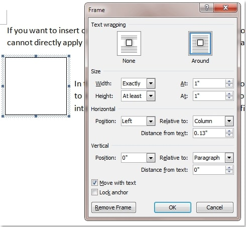The Frame window in Kutools for Word
