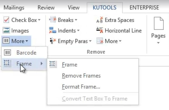 the Frame option in Kutools for Word
