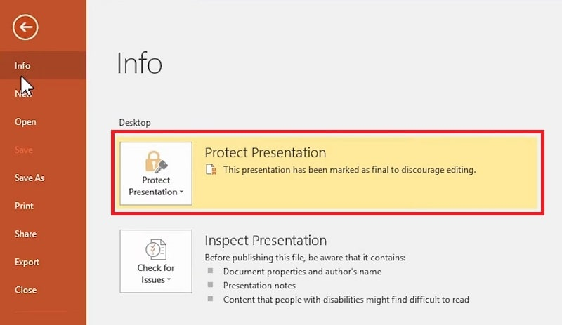 The Info section of the File tab in PowerPoint