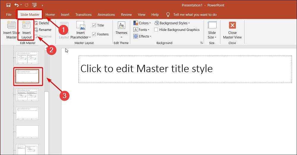 Slide Master Insert Layout in PowerPoint