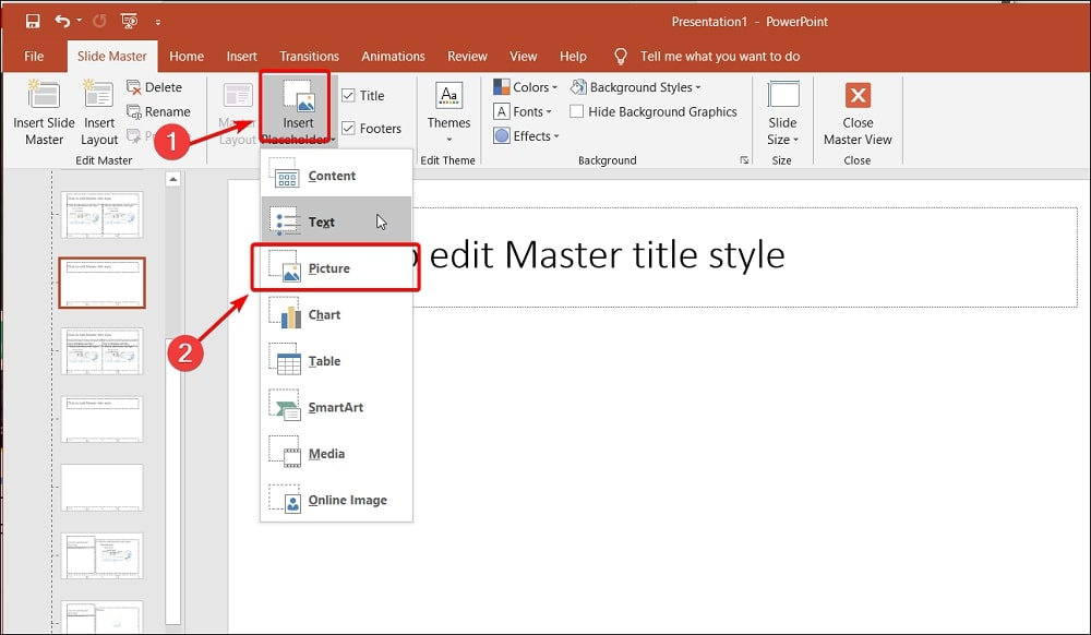 Insert Placeholder and Picture in PowerPoint