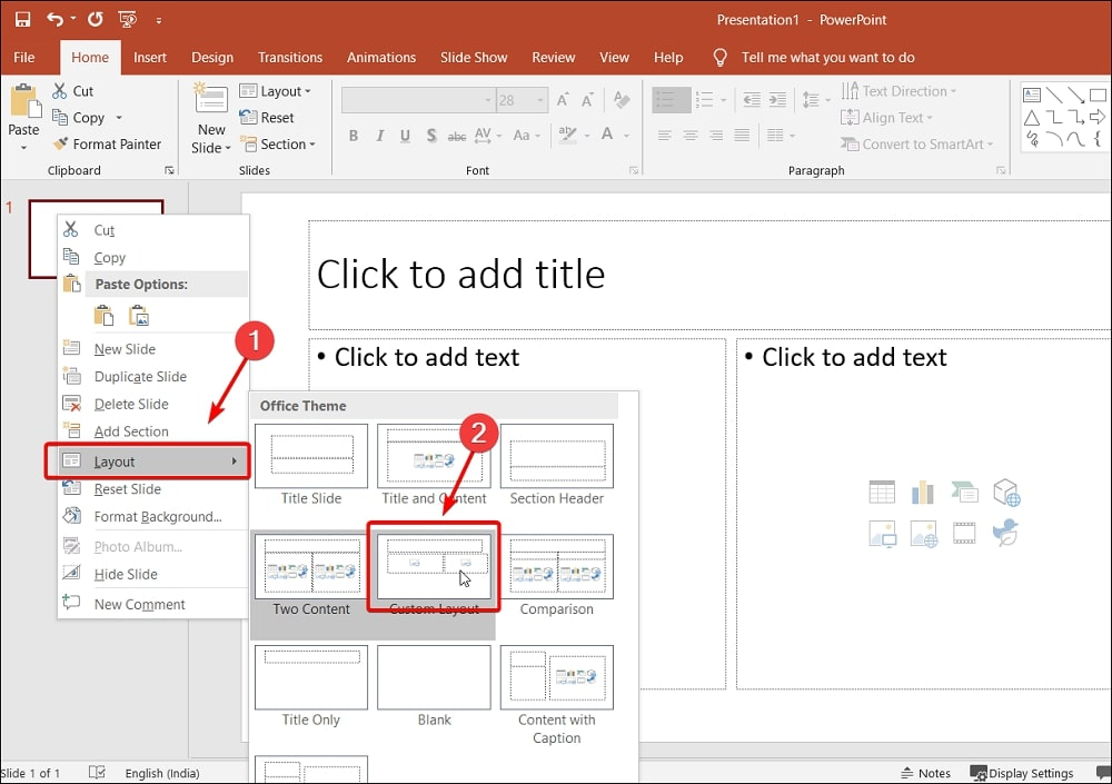 Right-click layout custom layout in PowerPoint