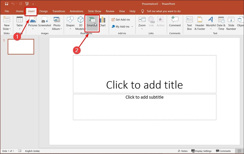 Insert SmartArt in PowerPoint