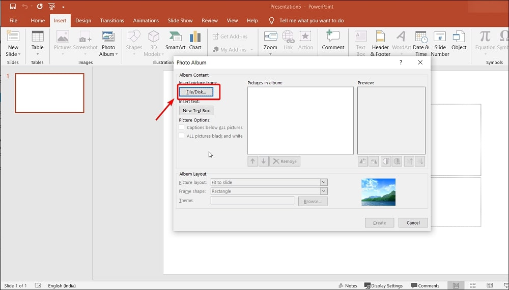 Insert picture from File/Disk in Photo Album PowerPoint