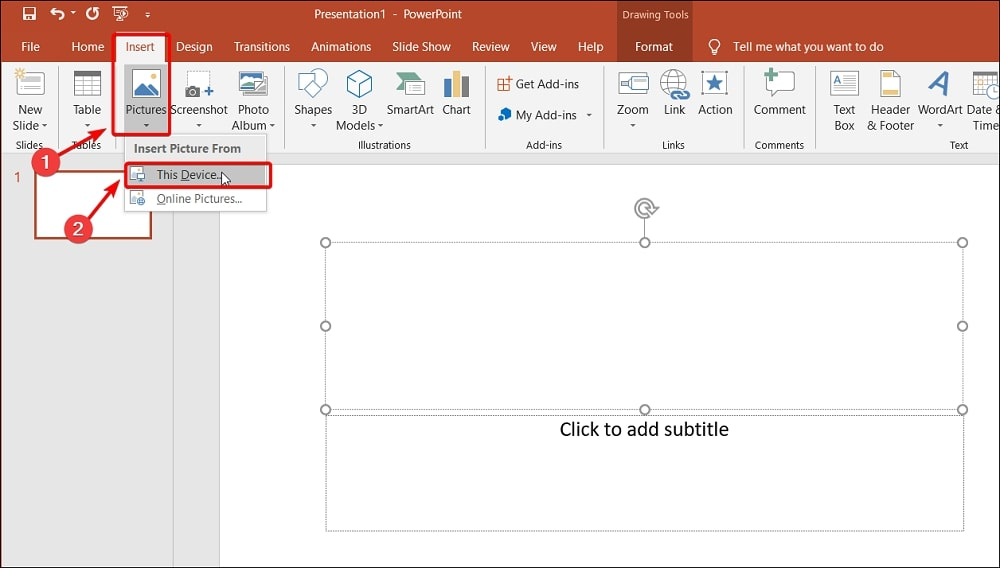 Insert Pictures from this device in Powerpoint