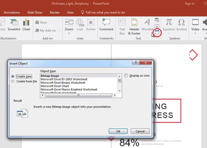 The Insert Object button in PowerPoint