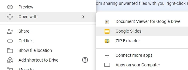 Open PPTX file without PowerPoint using Google Drive